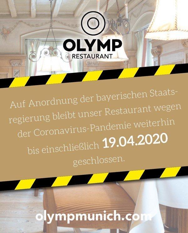 Hinweis Schliessung Olymp Restaurant 2020 April